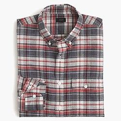 End-on-end Irish cotton-linen shirt in plaid