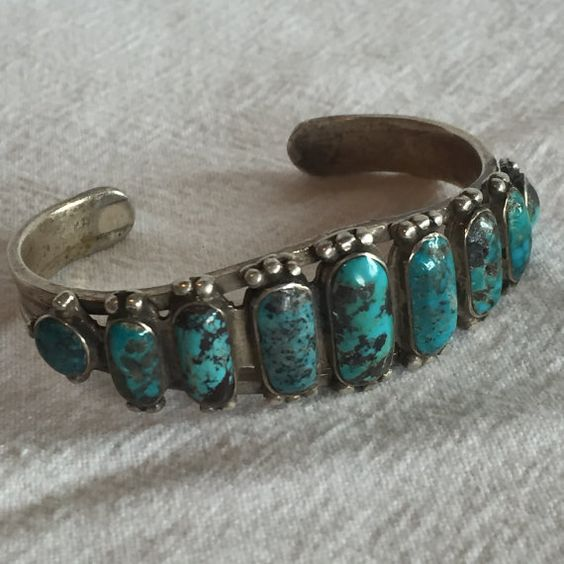 Old Vintage NAVAJO Sterling Silver & Graduated by TurquoiseKachina