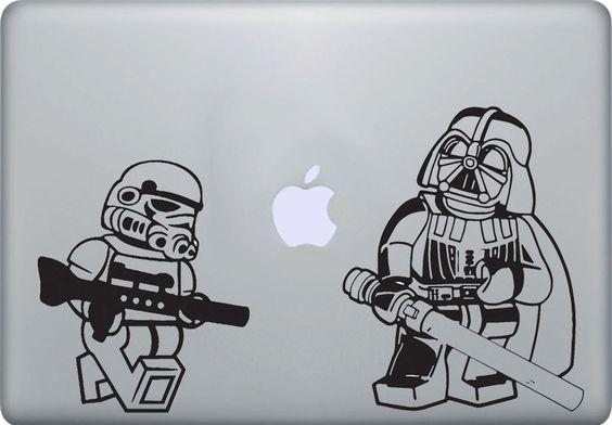 Lego stormtrooper Darth Vader Starwars vinyl decal sticker, Apple Macbook Pro Mac air laptop iPad 1, 2, 3. $4.99, via Etsy. [for canvas]
