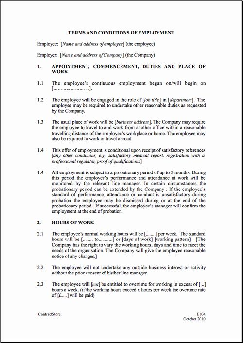 Luxury Free Printable Employment Contract Sample Form Generic