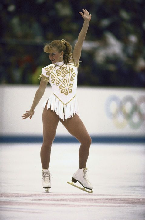 Best Olympic Ice Skating Costume: Tonya Harding, 1992 Pre-Kerrigan scandal, Tonya made headlines for being the only American woman to land a triple axel in competition—and for this gilded fringe masterpiece.