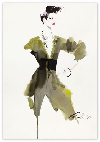 He really is amazing... David Downton, for Asos Magazine 2010, Ink and water colour on paper.