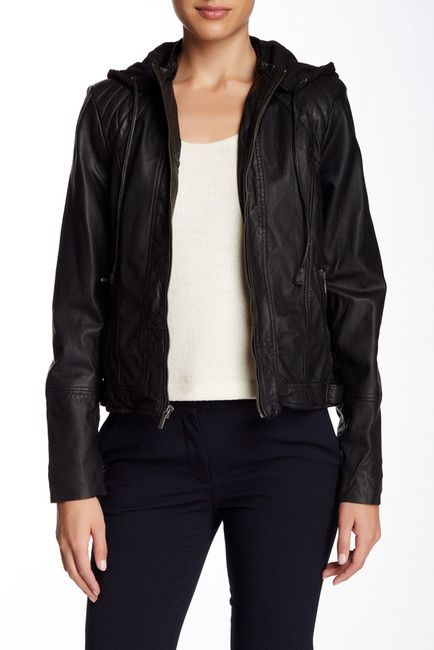 Cole Haan Hooded Zip Genuine Leather Bomber Jacket - $349.97