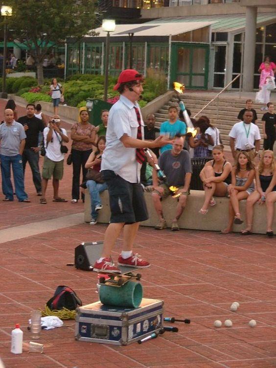 Street performer in Baltimore's Inner Harbor
