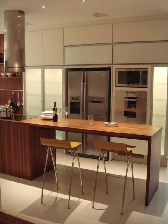 cozinha bancada de madeira  Pesquisa Google  salacopa  Pinterest  Madeir # Bancada De Madeira Na Cozinha