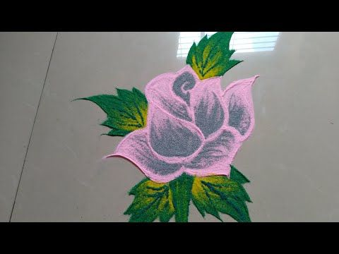 Simple Shading Rose Flower Rangoli Design Made By Jyoti Raut Rangoli Youtube Easy Rangoli Designs Rangoli Designs Images Flower Drawing