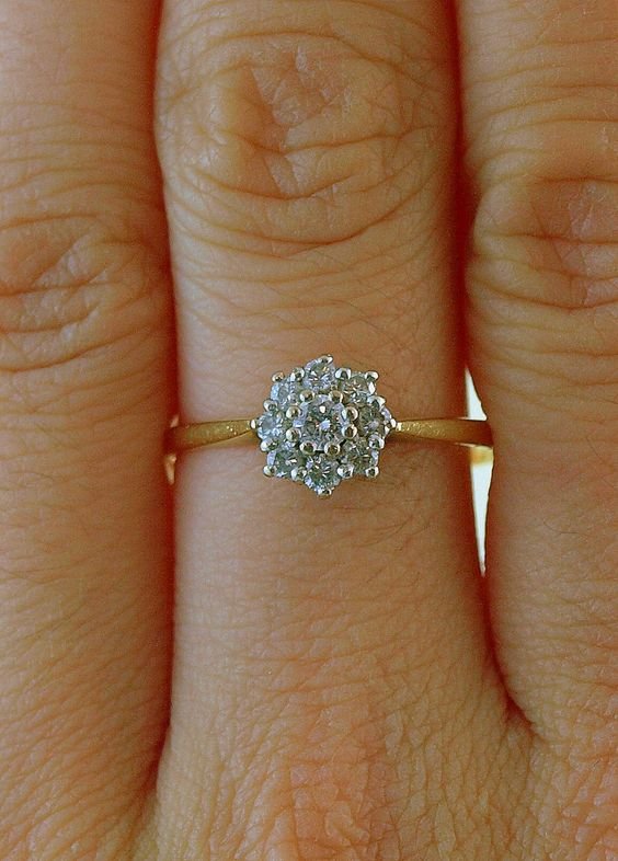 Vintage 1930s Diamond Flower Engagement Ring in 18k Gold and Platinum, via Etsy.