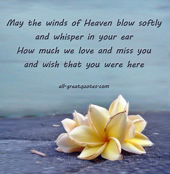 May the winds of Heaven blow softly and whisper in your ear - How much we love and miss you and wish that you were here.
