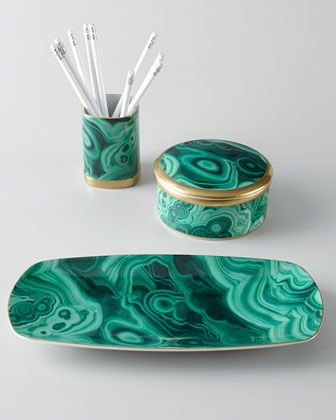 "L'OBJET MALACHITE DESKTOP ACCESSORIES ($460).  ""I enjoy working with malachite (it is my favorite stone) and would love to see this set on a loved one's desk.""--Eddie Borgo:"