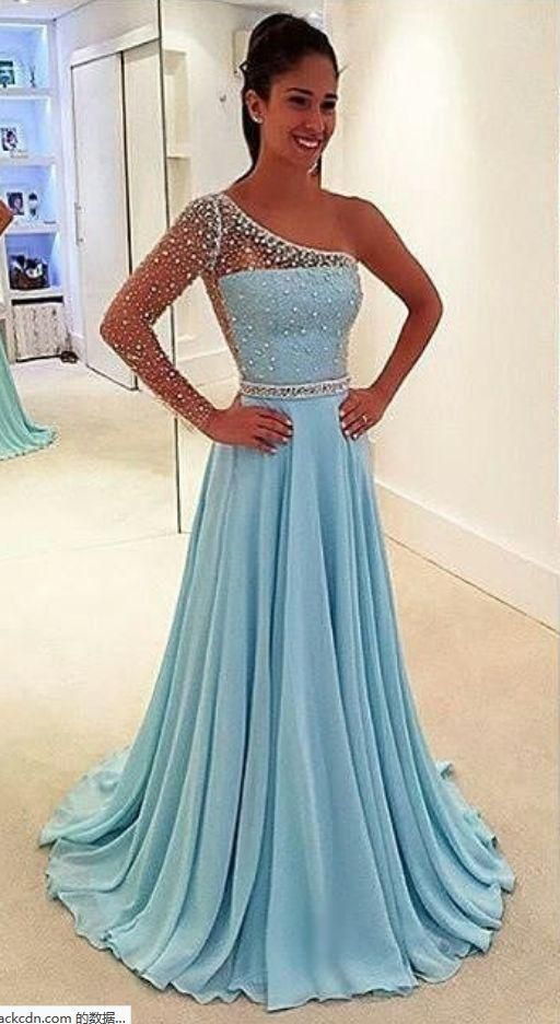 Blue Prom Dresses One Arm