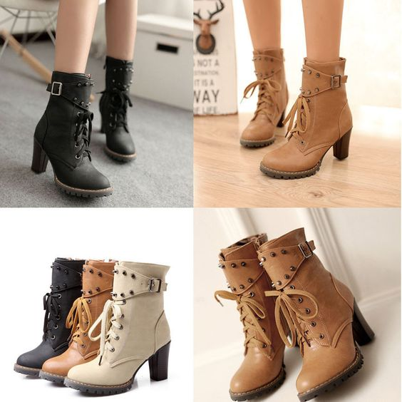 Details about Women Ankle Boots Lace Up High Heel Warm Lined