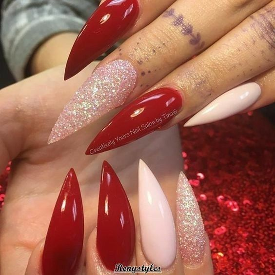 Stiletto Nails Valentine S Nails Pink And Red Nails Acrylic Nails Red Stiletto Nails Long Red Nails Red Acrylic Nails