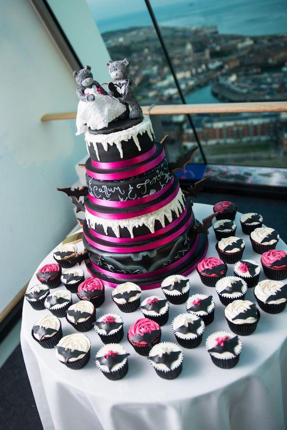Batman theme wedding cake 4 tiers #baileys #redvelvet #vanilla #chocolatefudge made by connoisseurs gourmet cupcakes London! - how fun! Only make it more purple hehehe