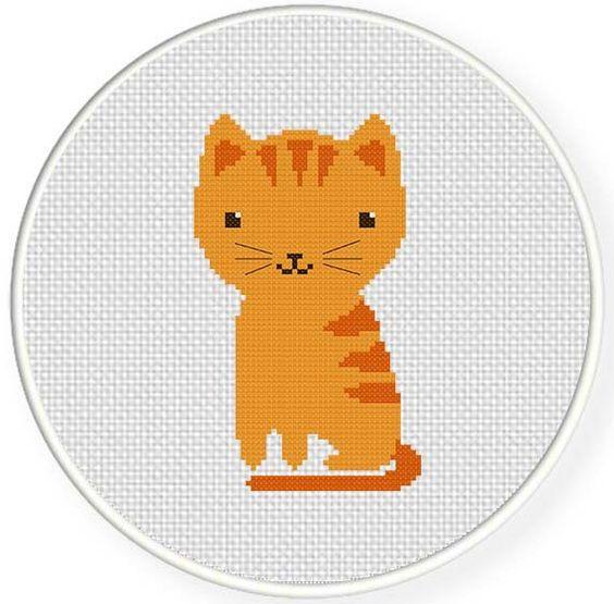 INSTANT DOWNLOAD Stitch Kitty Cat PDF Cross Stitch Pattern Needlecraft