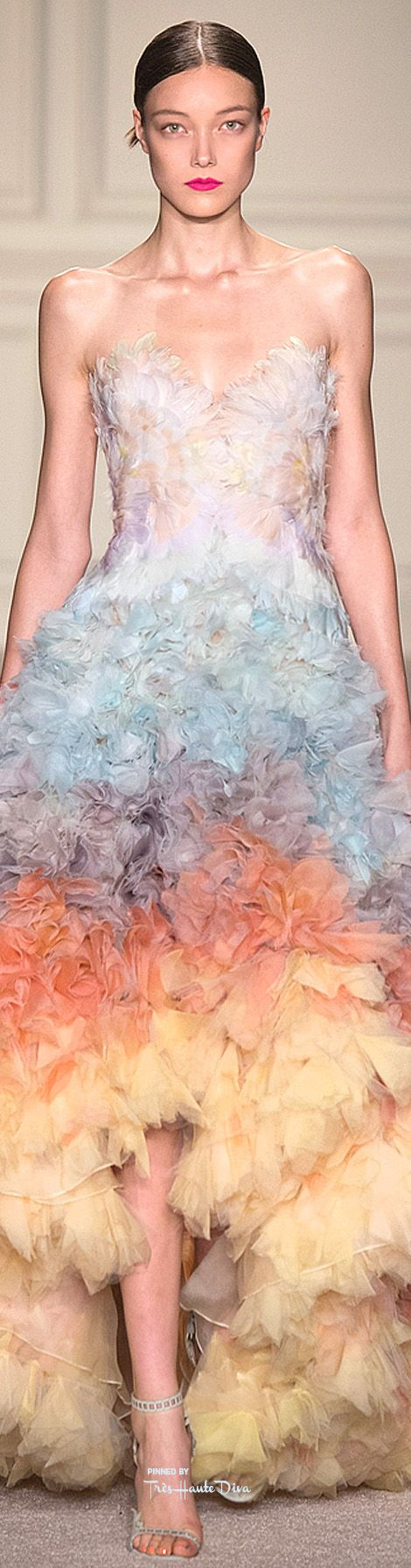 Marchesa S-16 RTW: gown with voluminous skirt featuring layers of dip-dyed tulle in an ombré of pastels.