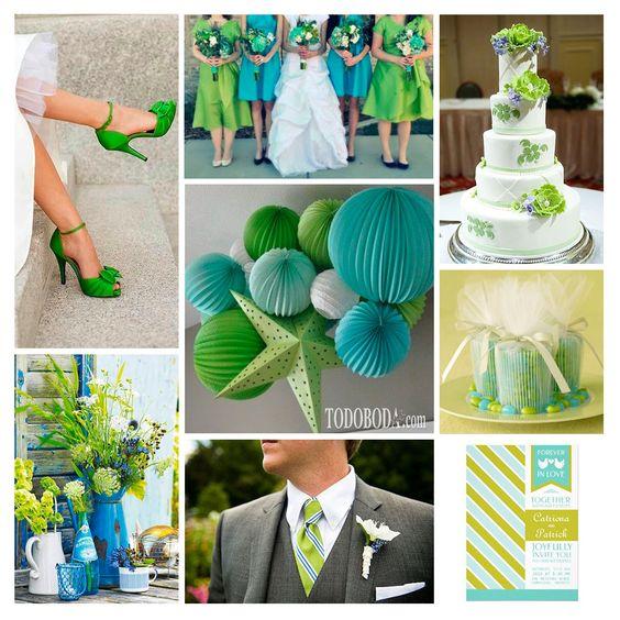 Las bodas en primavera o verano requieren combinación de colores alegres. Una paleta bonita y atrevida que refresque el ambiente y anime a los invitados a pasar un día muy especial. Por eso, hoy elegimos el azul tifanny, el verde chartreuse y el blanco para los principales detalles...
