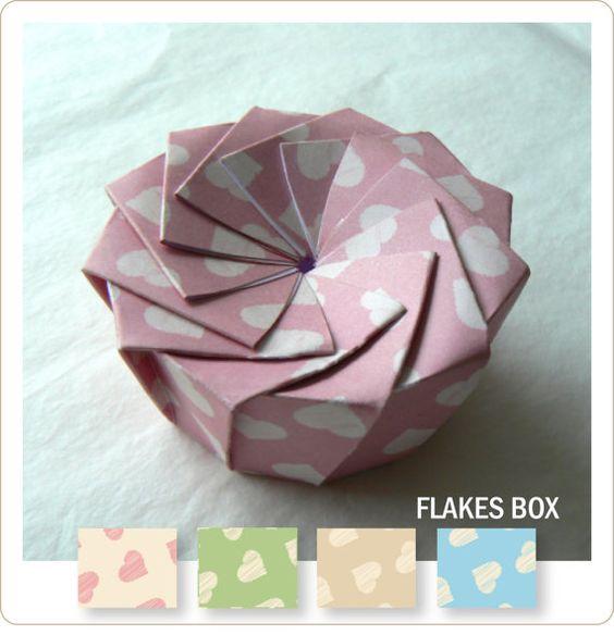 5 Boîtes en Papier Ecailles   téléchargeable par AGOHPATTERNS
