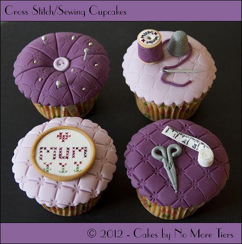 Cross stitch / sewing themed cupcake set