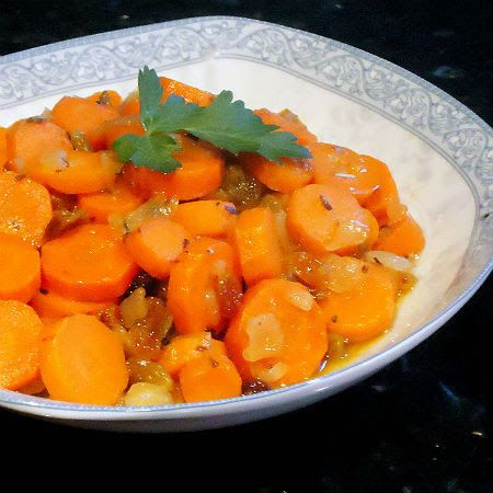 One Perfect Bite: Glazed Carrot Coins with White Wine and Muscats