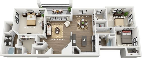 9 Modest Two Bedroom Apartment Interior Design Photography In 2020 Small Apartment Floor Plans Small House 3d Floor Plan Small House Design