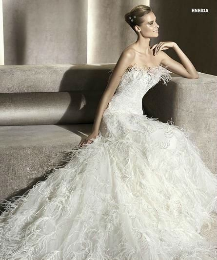 ostrich feather wedding dress - Google Search