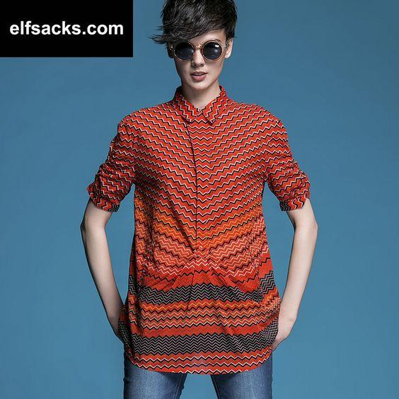 Womens Polo Collar Short Sleeve Striped Orange Tshirt