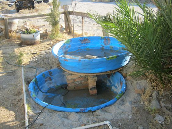 Stacked kiddie pools make waterfall fish pond terrific for Koi pond aquaponics