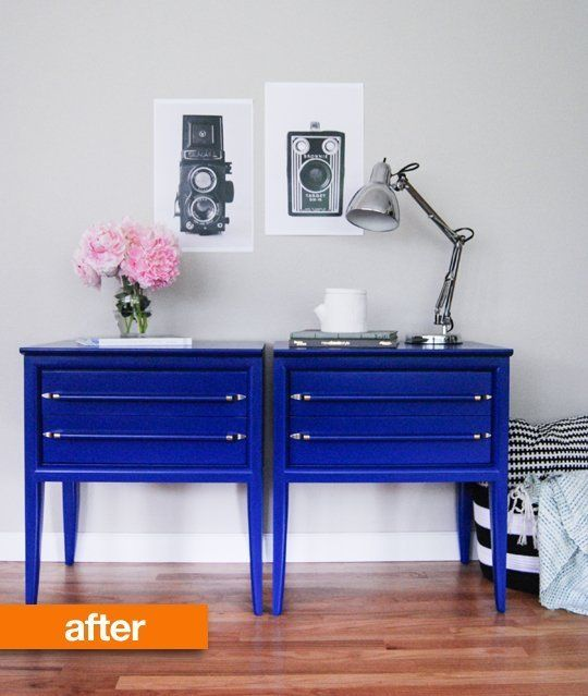 love love love the colour and style of these bedside tables! Before & After: Nightstand Nightmare No More | Apartment Therapy