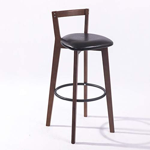 Simple Solid Wood Bar Stool Faux Leather Cushion With Back