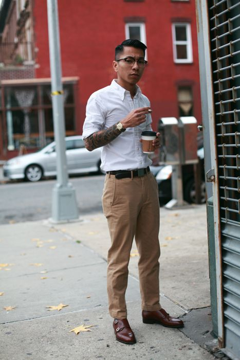 white shirt and chinos