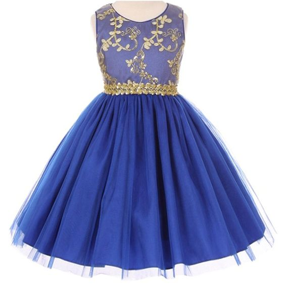 Amazon.com: Little Girls Fabulous Gold Coiled Embroidered Golden Lace Waist Knee Length Dress Royal Blue - Size 4: Clothing