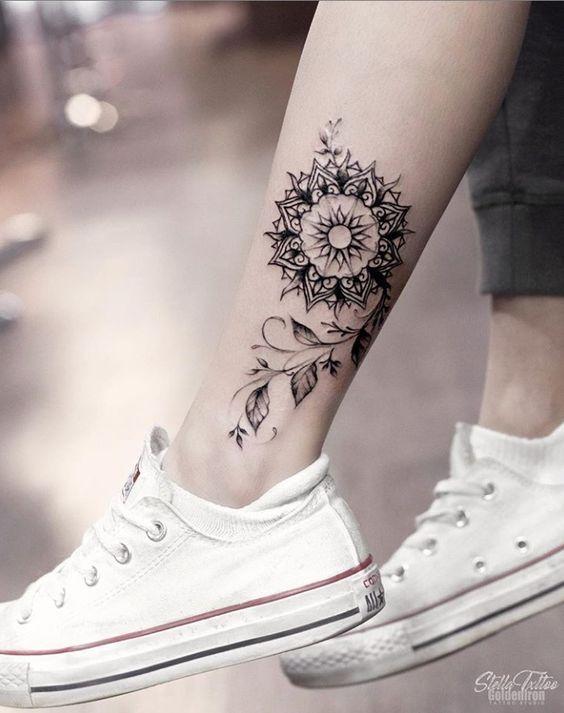 Elegent And Flower Henna Tattoo For Girls Leg Tattoos Women Ink Tattoo Foot Tattoos