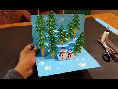 3D Pop-up Tree Box Snowflake Greeting Card Gift Merry Christmas Invitation Decor