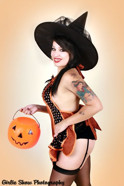 Halloween Cindy Apron - Candy Corn    Model: Sprinkles - Photos: Girlie Show Photography