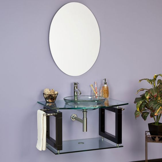 Linden clear glass wall hung sink with mirror small bathroom ideas pinterest glass walls
