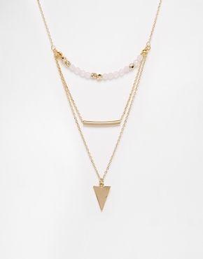Collier multi-rangs triangle, barre et perle en édition limitée