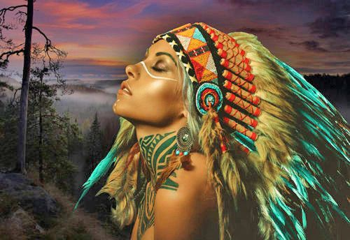Native American Indian with Horses Art Quality Canvas Print A3