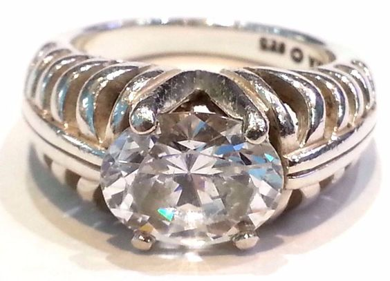 Vintage Kabana Oval CZ Diamonique Ring in Sterling Silver Size 7 #Kabana #Solitaire