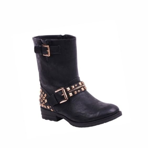 Black Studded Moto Boots Stylish and edgy black studded moto boots! These boots have only been worn 2 or 3 times, and are in excellent condition with little to no wear and tear. Please note- item will not be shipped until Saturday, March 19, as I am away. ***ABSOLUTELY NO TRADES Wanted Shoes Ankle Boots & Booties