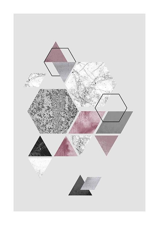 Geometric Abstract Triangles And Hexagons Nordic Design Etsy In 2020 Geometric Art Art Wallpaper Abstract