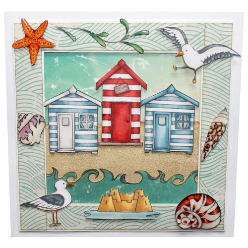 "This Card was made by Sally Dodger using the new ""Summer Holiday"" stamp set designed by Sharon Bennett for Hobby Art Stamps.:"