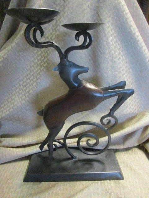 Rustic Primitive Deer Buck Candleholder Ebay Candle Holders Vase Candle Holder Rustic