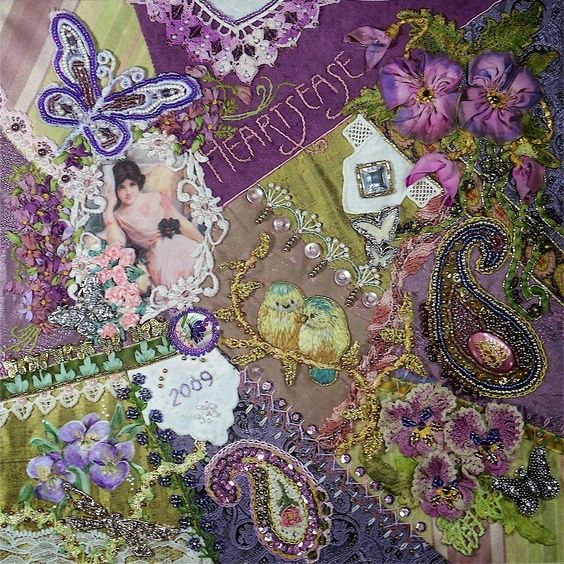 I ❤ crazy quilting, beading & ribbon embroidery . . . Are you up to a challenge? The list included using: pansies, paisleys, hankies, butterflies, fancy beaded seams, lettering, embellished rick rack & painting on fabric. I chose them all since I had a whole year to do it. By Gerry Krueger, Block talk by Gerry: