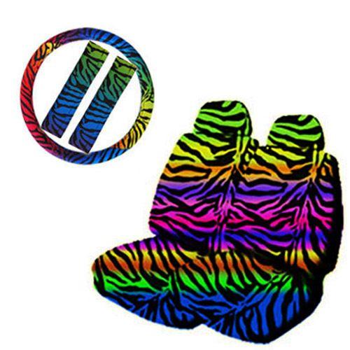 9pc Rainbow Zebra Print Front Bucket Car Seat Cover Set