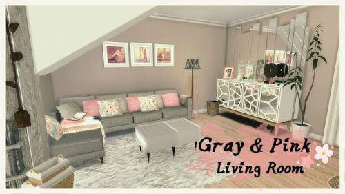 Gray & Pink Living Room for The Sims 4 | Rosa wohnzimmer ...