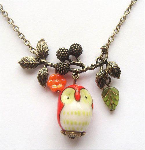 Antiqued Brass Branch Flower Porcelain Owl by gemandmetal on Etsy