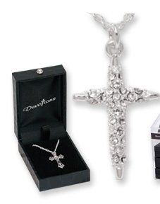 DR - Designer Inspired Madeleine Silver Crystal Cross Necklace in Gift Box: Jewelry: Amazon.com