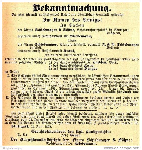 Original-Werbung/ Anzeige 1898 - URTEIL SCHIEDMAYER & SÖHNE GEGEN…