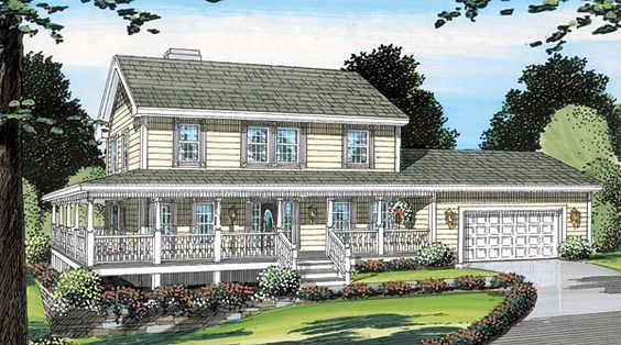 Farmhouse House Plan 24400 - This 2,033 sq. ft. layout is wonderful to look at and live in. A wrap porch leads to a welcoming entry. A comfy den (or guest room), half bath, and dining room with ceiling treatment enjoy special fore-front status. The living room is both elegant and relaxed with fireplace and French doors to the back porch. The kitchen is surrounded with cabinetry. Its central island is always ready to serve. The upstairs...