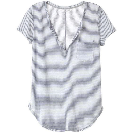 Split-neck Tee Easy Tees ($30) ❤ liked on Polyvore featuring tops, t-shirts, victoria secret t shirts, victoria secret tee, victoria's secret, split neck top and victoria secret tops